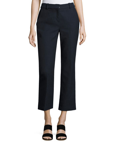 Slub Cropped Straight-Leg Suiting Pants, Navy