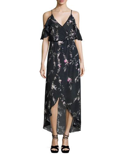 Rockefeller Floral-Print Cold-Shoulder Maxi Dress, Black