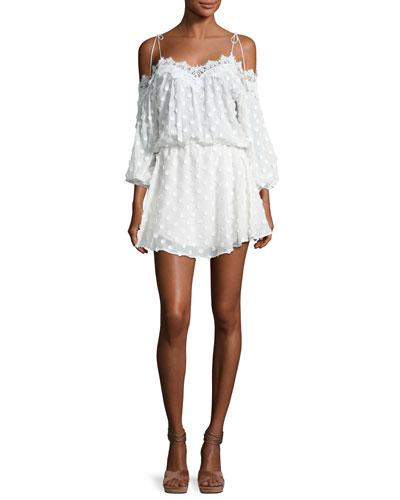 Fleur Floral Lace-Trim Cold-Shoulder Midi Dress, White