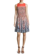 Fiore Sleeveless Printed Twirl Dress, Multi, Plus Size