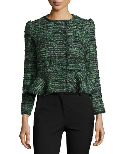 Textured Tweed Peplum Jacket, Green/Black