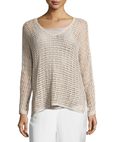 Sun Catcher Long-Sleeve Open-Weave Top, Light Beige