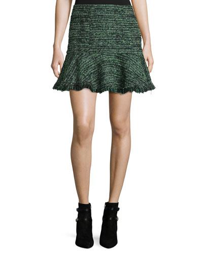 Textured Tweed Ruffle Mini Skirt, Green