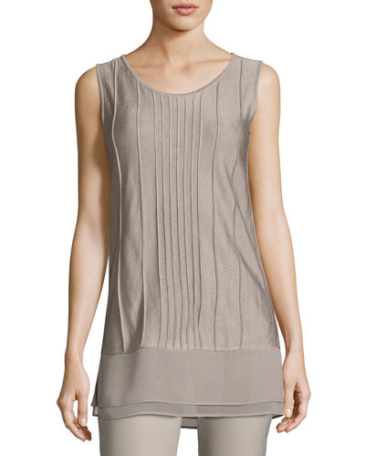 Textured Chiffon-Trim Tank, Light Beige