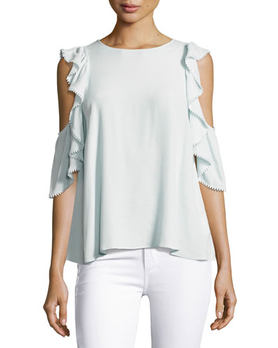 Monsoon Cold-Shoulder Ruffle Top, Light Blue