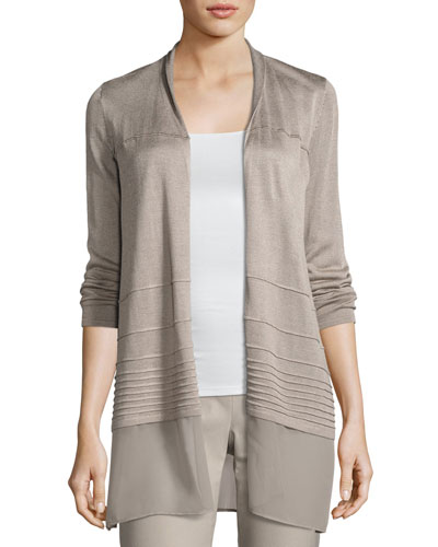 Textured Chiffon-Trim Cardigan, Light Beige, Plus Size