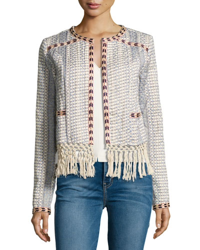 Santa Fe Macrame Fringe-Trim Jacket, Multicolor