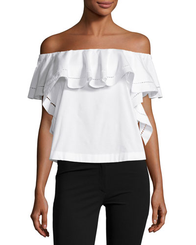 Leanna Off-the-Shoulder Ruffle Top, Ecru
