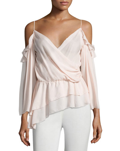 Renee Cold-Shoulder Silk Surplice Top, Petal Pink