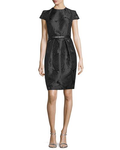 Cap-Sleeve Floral Cocktail Dress, Black