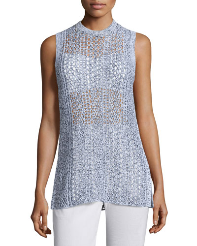 Meenaly E Iras Crocheted-Knit Sleeveless Sweater