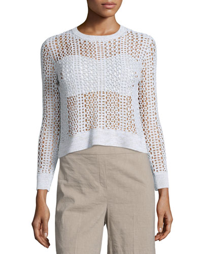 Krezia B Iras Crocheted Knit Cropped Sweater