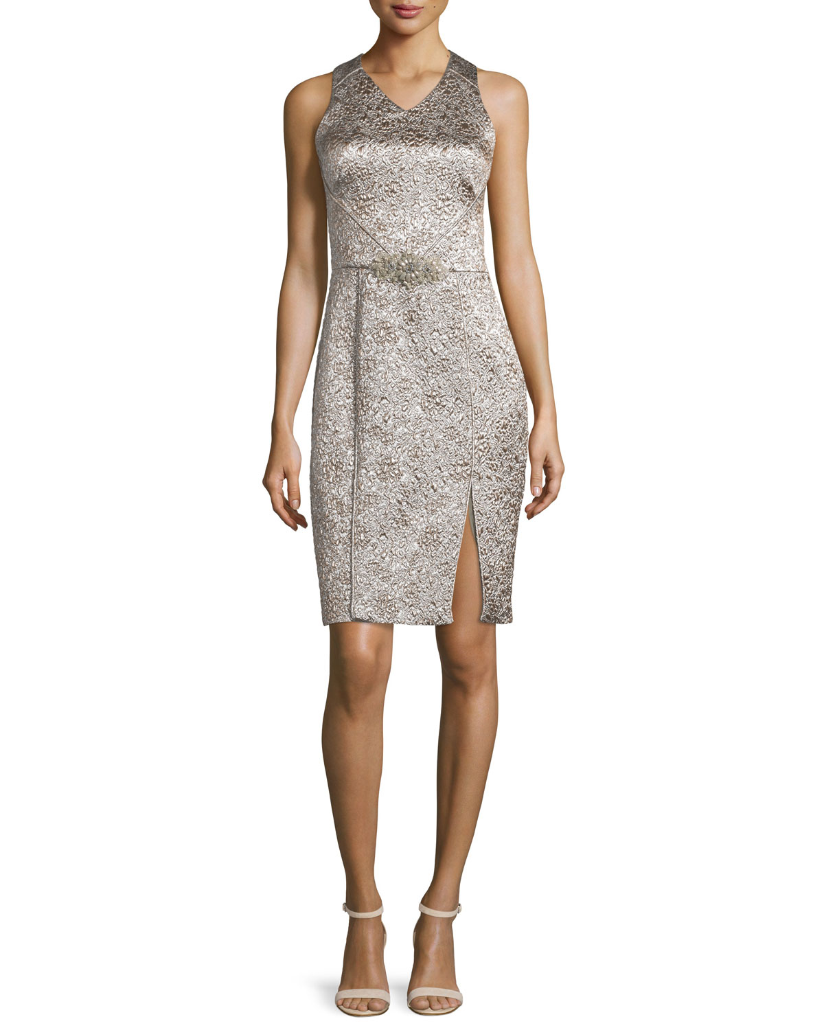 Sleeveless Shimmery Cocktail Dress, Platinum