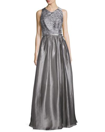 Sleeveless Jewel-Neck Metallic Gown, Silver