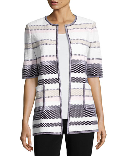 Textured Striped Half-Sleeve Jacket, Plus Size