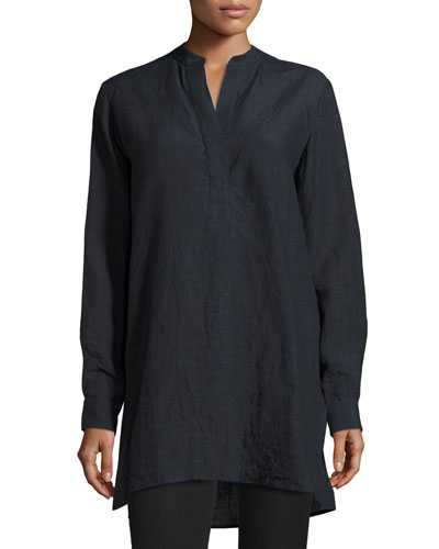 Dara Long-Sleeve Linen Tunic