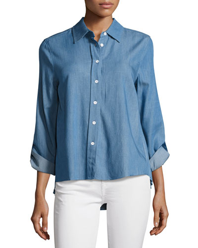 Kris Denim Accordion-Pleated Shirt, Blue