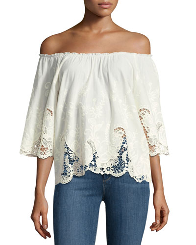 Jadeynn Off-the-Shoulder Lace Top, Natural