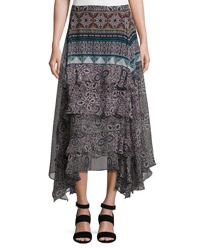 Jacinda Bohemian Tiered Skirt, Black