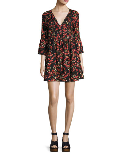 Alita Floral Bell-Sleeve Mini Dress, Black