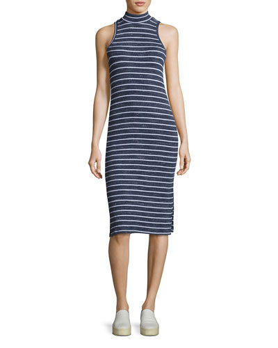 Mock-Neck Striped Midi Tank Dress, Navy
