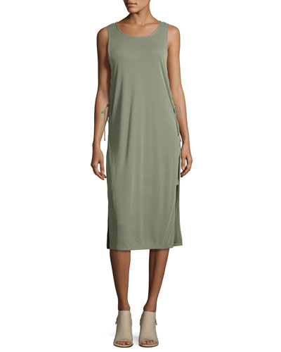 Lace-Up Sandwash Rib Midi Tank Dress, Moss