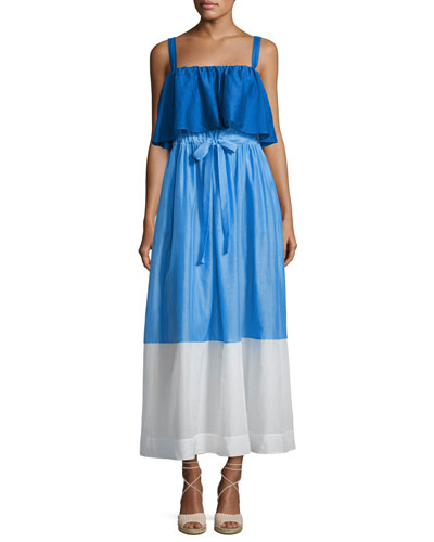 Colorblock Popover Prairie Dress, Blue/White