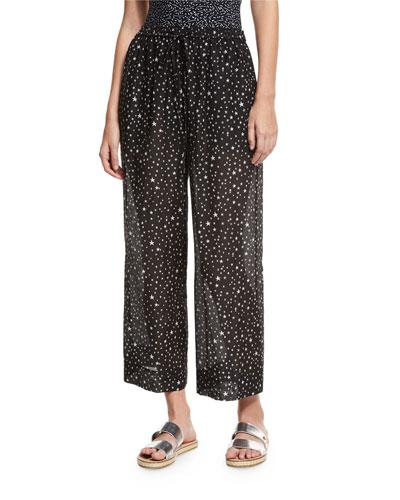 Star-Print Voile Beach Culottes, Black