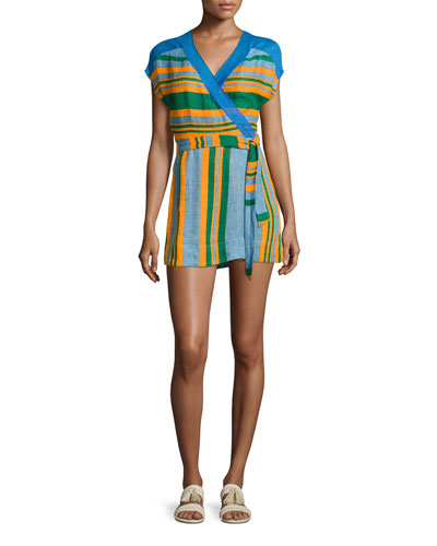 Striped Wrap Mini Dress, Blue/Orange/Green