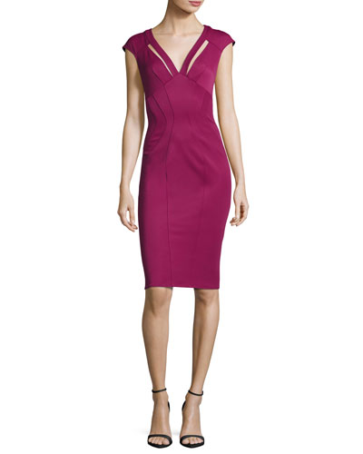 Joni Cutout Ponte Sheath Dress, Sangria