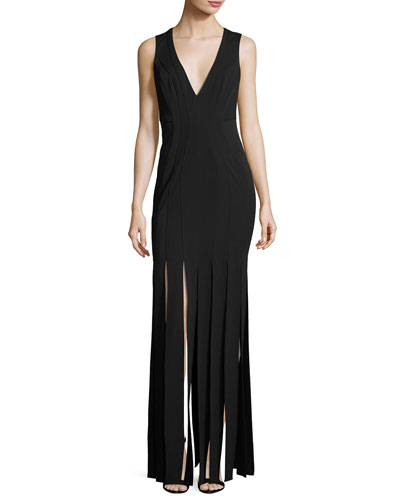 Melody Sleeveless Ponte Column Gown, Black