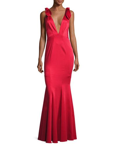 Katerina Sleeveless Satin Mermaid Gown, Red