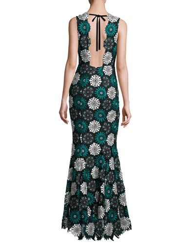April Sleeveless Medallion Lace Gown, Blue/Black
