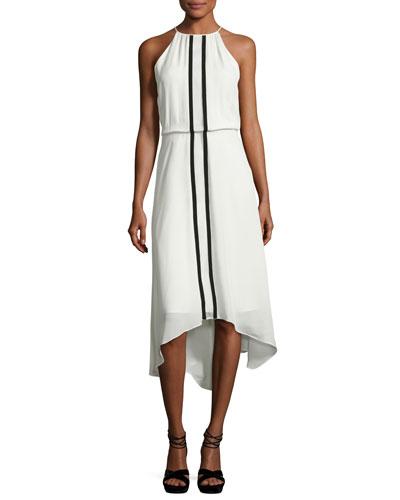 Macedonia Sleeveless Contrast-Trim Midi Dress, Ivory