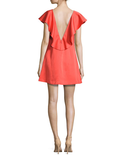 Dottie Crepe Ruffle-Trim Shift Dress, Red