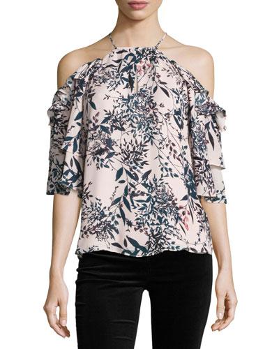 Cindy Floral-Print Cold-Shoulder Silk Top, Privett
