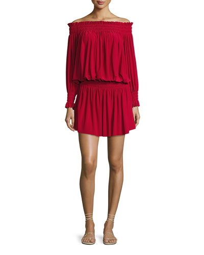 Peasant Jersey Blouson Mini Dress, Red