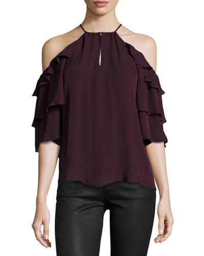 Cindy Cold-Shoulder Silk Top, Plumwine
