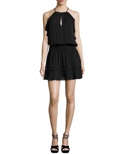 Williame Sleeveless Silk Blouson Mini Dress, Black