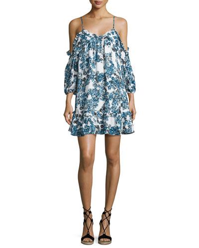 Aidrian Floral-Print Cold-Shoulder Shift Dress, Bluebonnet