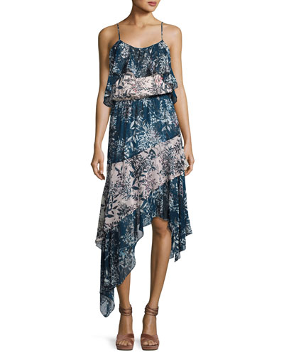 Reuben Mixed-Print Handkerchief-Hem Slip Dress, Multicolor