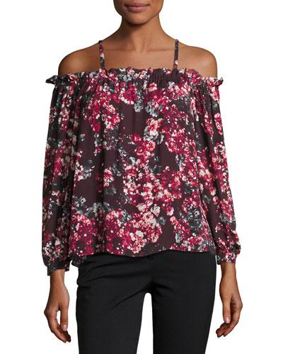 Zola Cold-Shoulder Floral-Print Silk Blouse, Burgundy Multicolor