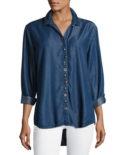 Endless Denim Shirt w/ Mixed Buttons