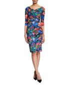 Chiara Boni La Petite Robe 3/4-Sleeve Floral Tie-Dye