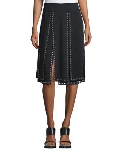 Grommet-Embellished Carwash Skirt, Black