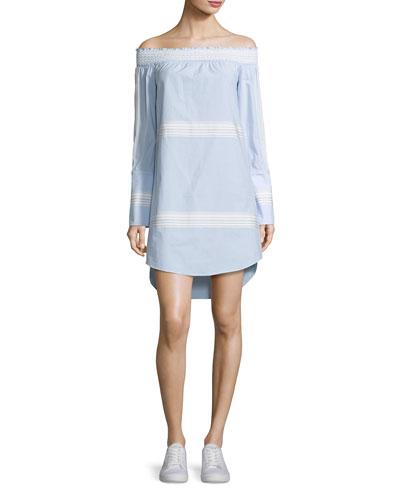 Off-the-Shoulder Poplin Shift Dress
