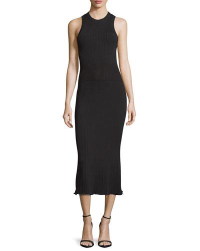 Ribbed Crewneck Midi Dress, Black Multi