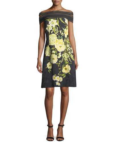 Off-the-Shoulder Lace-Trim Floral Dress, Black/Yellow