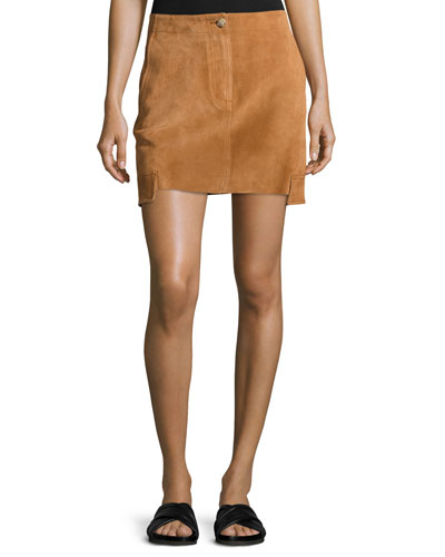 Suede Mini Cargo Skirt, Beige