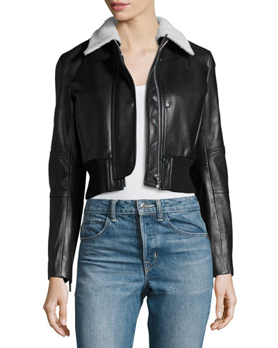 Cropped Lamb Leather Jacket, Black